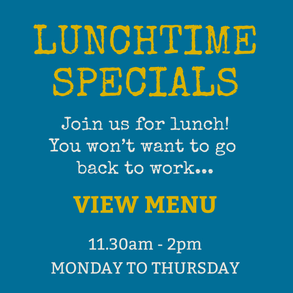 The Vine - Lunchtime specials, join us for lunch! You won't want to go back to work. Available from 11.30am  - 2 pm, Monday to Thursday.